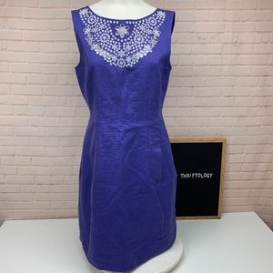Kate Spade Purple Embroidered Eyelet Domino Dress